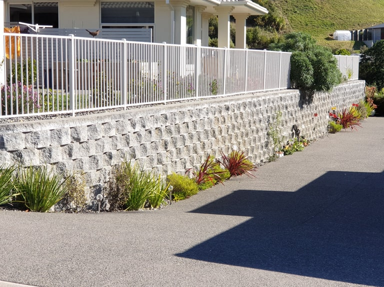Retaining Wall Firth Compac IV Blocks With Geogrid